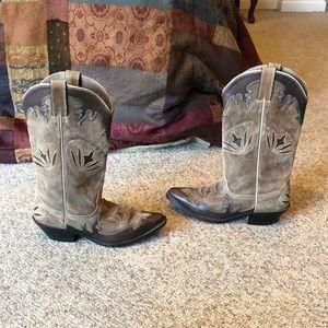 Justin tan  inlay design western Cowboy boots 9